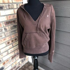 American Eagle Brown v neck hoodie size M